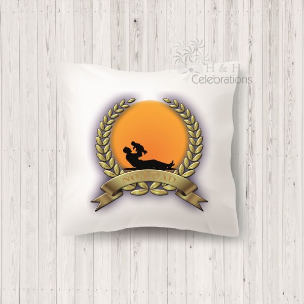 No 1 Dad And Infant Laurel Silhouette Personalised Cushion